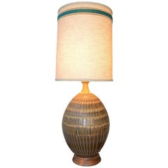 Large Impact Midcentury Ceramic Lamp in Gold or Turquoise