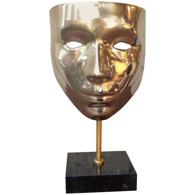 Brass Carnival Mask Mounted on Black Marble