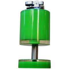 Green / Clear Pop Art 1960s Stacked Lucite and Chrome Lighter