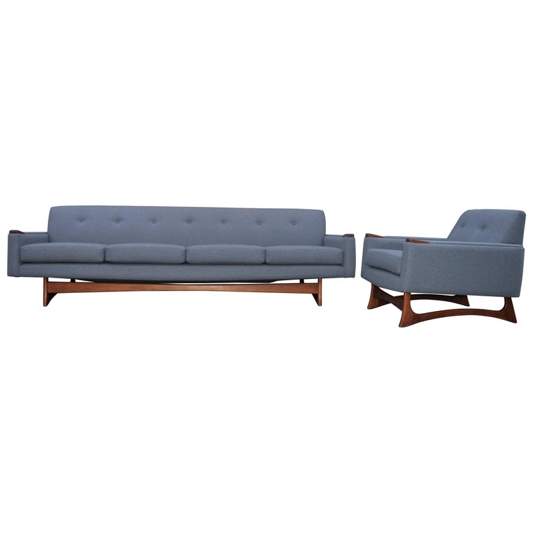 Adrian Pearsall Attributed Grey Wool Sofa & Lounge Chair-Walnut Base & Armrests