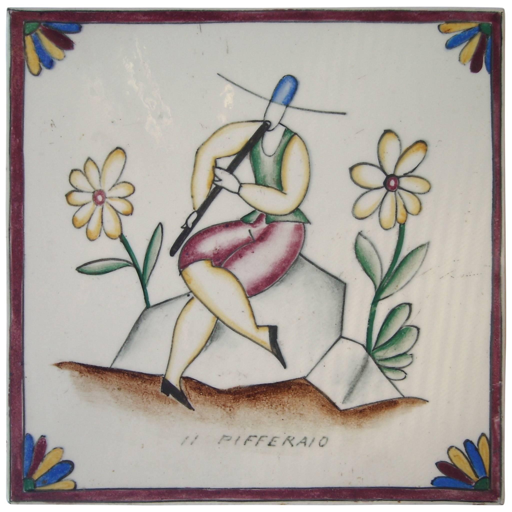 "Gio Ponti Tile or Ceramic for Richard Ginori, Title ""Il Pifferaio"""