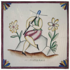 "Gio Ponti Tile or Ceramic for Richard Ginori, Title ""Il Pifferaio"""