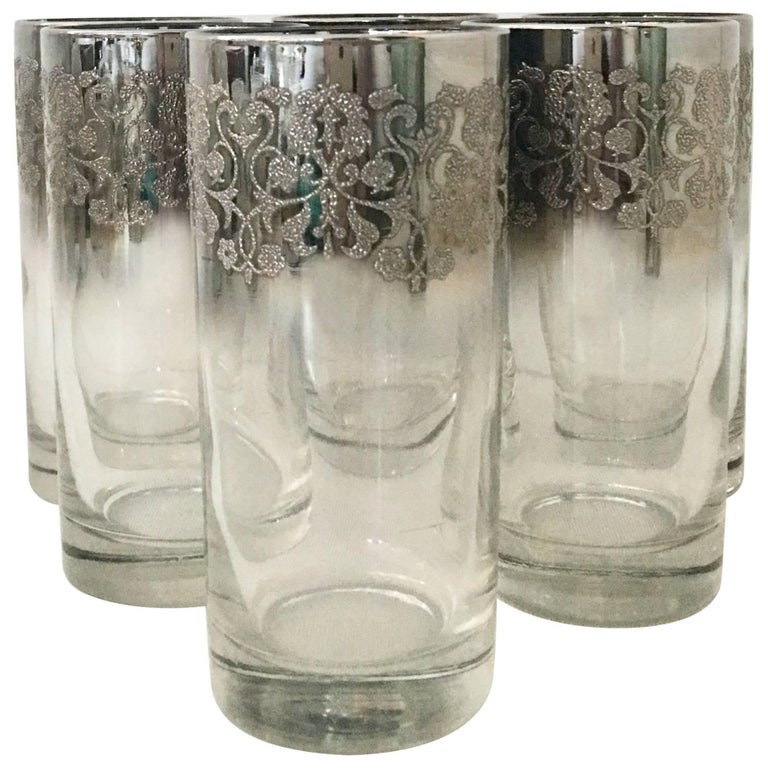 Dorothy Thorpe Style Sterling Silver Overlay High Ball Glasses, Set of Six