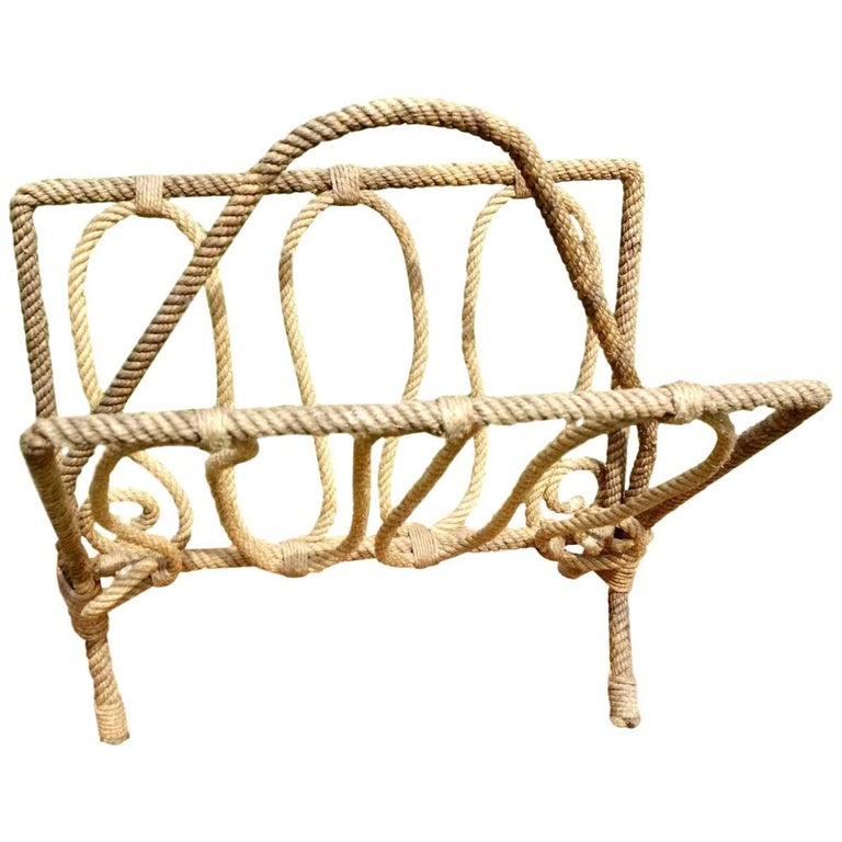 French Rope Magazine Rack by Audoux and Minet