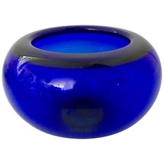1950'S Scandinavian Modern Crystal Cobalt Bowl by Per Lutken for Holmegaard