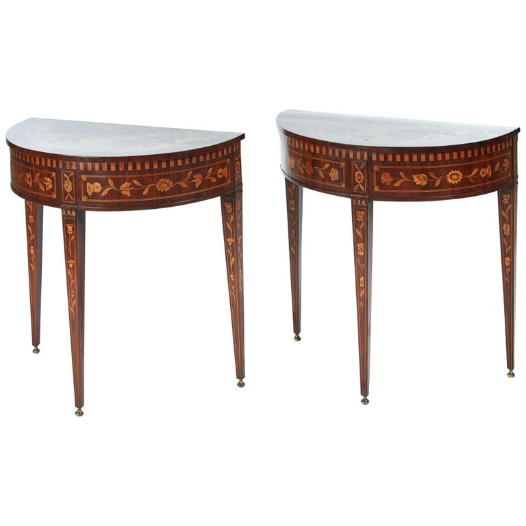 Fine Pair of 18th Century Dutch Marquetry Console Tables
