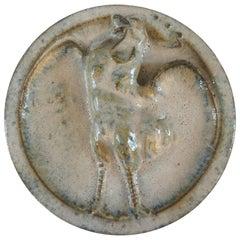 Alexandre Bigot, Art Nouveau Sandstone Medallion with Rooster Design