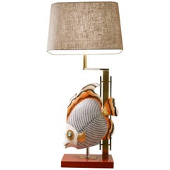 XL Miami Beach House Overglazed Ceramic Tropical Fish Bicolored Brass Table Lamp