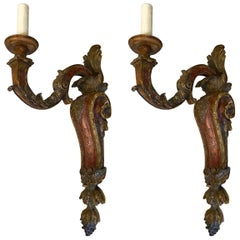 Large Pair of Italianate Carved and Polychromed Wood Single Arm Sconces