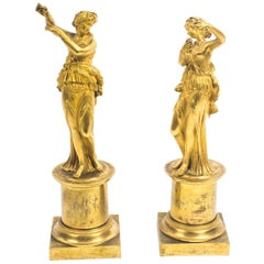 19th Century Pair of French Ormolu Classical Maidens Dancing