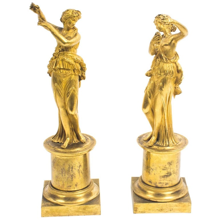 19th Century Pair of French Ormolu Classical Maidens Dancing For Sale