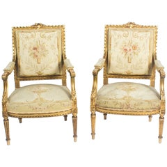 Antique Pair of Louis XVI Style Giltwood Armchairs, Late 19th Century