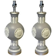 Pair of Midcentury Steel Grey Lacquered Orb Lamps