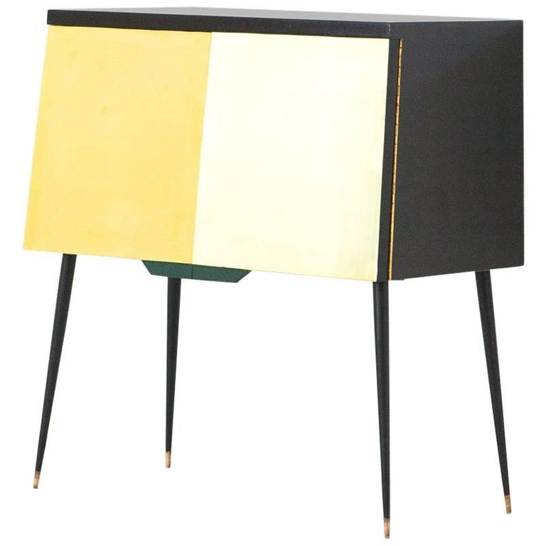 Italian Mid-Century Modern Black Lacquered Wood Brass and Iron Cabinet, 1950s