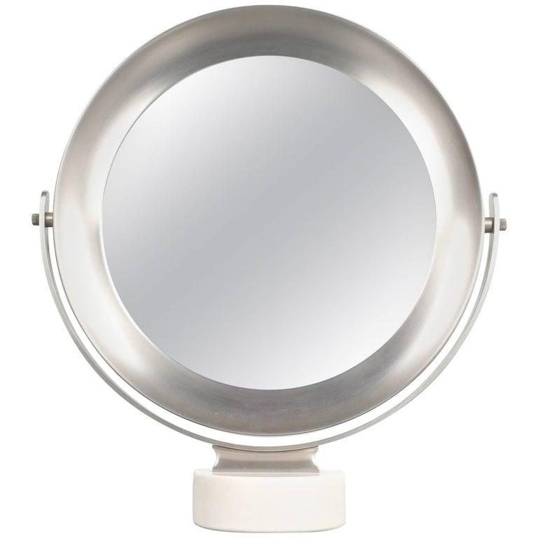 Sergio Mazza Large Swivel Marble Table Mirror, Italy, 1960 For Sale