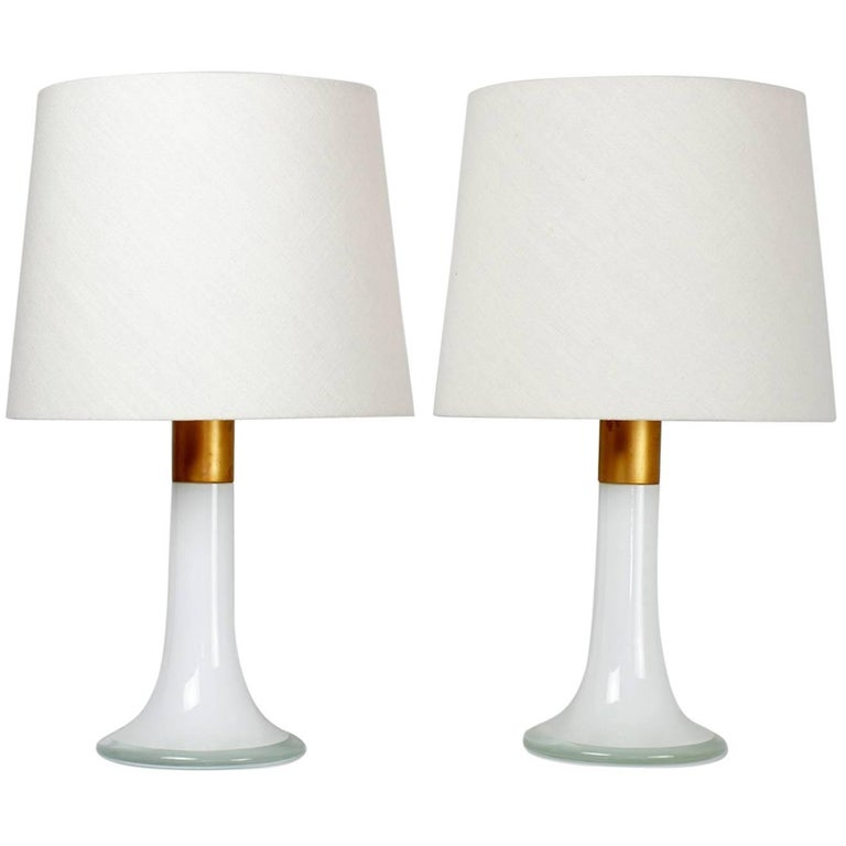 Lisa Johansson-Pape Pair of Glass and Brass Table Lamps Orno Finland, 1960s