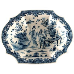 Blue and White Delft Platter with Chinoiserie Design