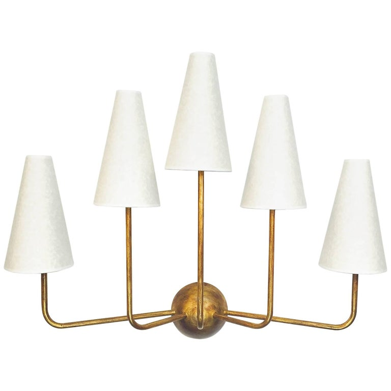 Large Five-Arm Gold Leaf Wall Lamp in the Style of Jean Royere