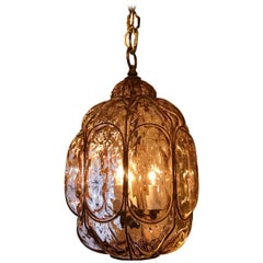 Fredrick Cooper Amethyst Murano Glass and Gilt Metal Lantern