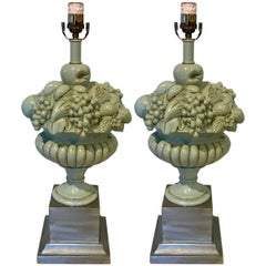 Pair of Midcentury Swedish Blue and Silver Fruit Topiary Lamps