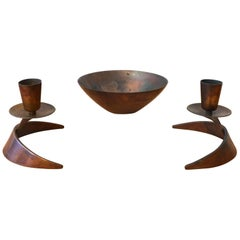 Ronald Pearson Bronze Bowl and Candleholders