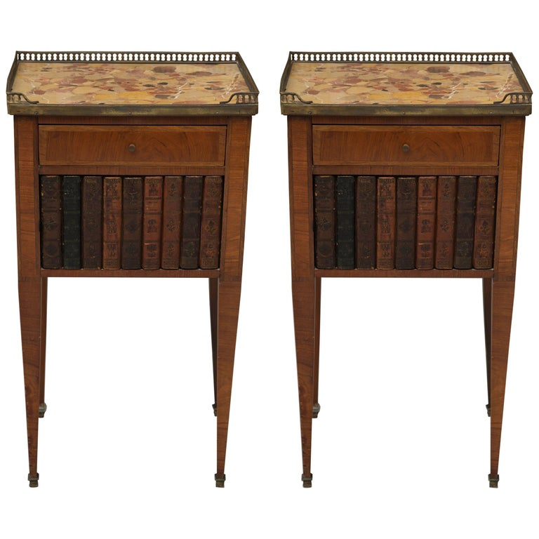 Pair of Mahogany Louis XVI Style Cabinets For Sale