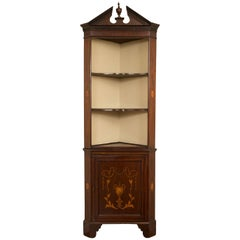 19th Century English Edwardian Inlaid Mahogany Open Corner Cabinet