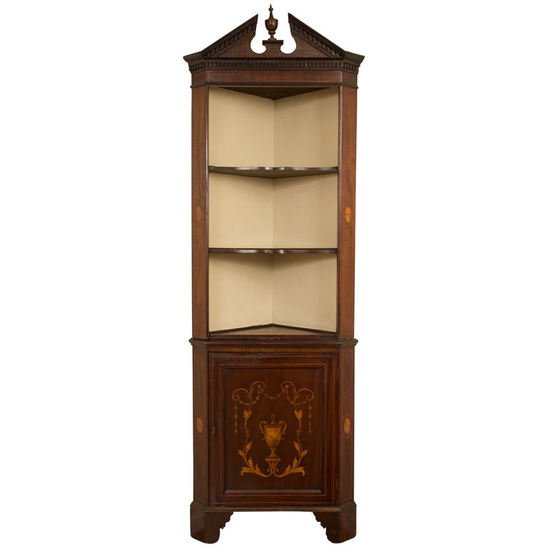 19th Century English Edwardian Inlaid Mahogany Open Corner Cabinet 1