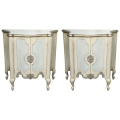 Pair of Serpentine Painted Venetian Cabinets
