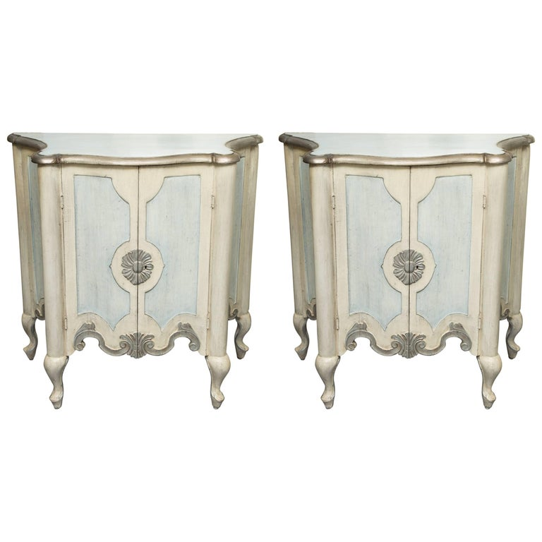 Pair of Serpentine Painted Venetian Cabinets For Sale