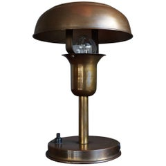Rare and Highly Stylish 1930s Little Copper Matal Art Deco Table or Desk Lamp
