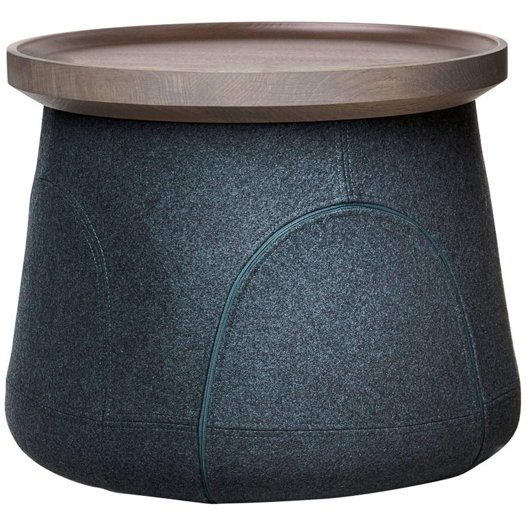 Moooi Elements 006 Table by Jaime Hayon in Teal Divina Melange and Grey Oak