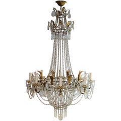 French Eight-Light Crystal Chandelier, 1930s