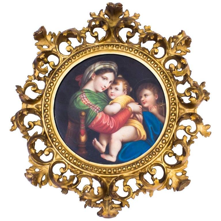 """19th Century Porcelain Plaque """"Madonna Della Sedia"""" Florentine Frame 1"""