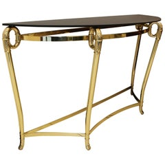 Italian Brass and Black Opaline Glass Console, circa 1970