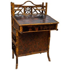 Bamboo and  Painted Lacquer Slant Top Desk