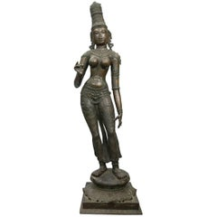 Large Indian  Bronze Standing  Figure of Sri-Lakshmi