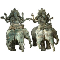 Pair of Thai Bronze Elephant Dieties