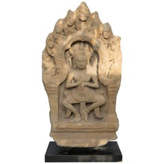 Sandstone Cambodian Carved Architectural Fragment