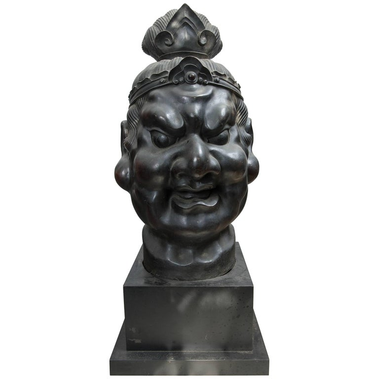 20th Century Japanese Bronze Head of a Deity