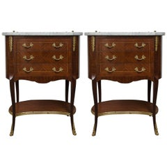 Pair Marble Top Bedside Tables