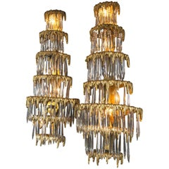 Pair of Large circa 1920 Caldwell Gilt Bronze Sconces with Crystal Hanging