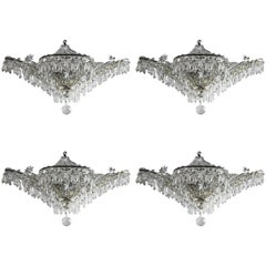 Set of Four circa 1930 French Silver Plated and Beaded Crystals Chandelier