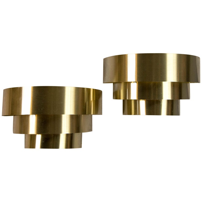Pair of Lightolier Three-Tiered Brass Sconces