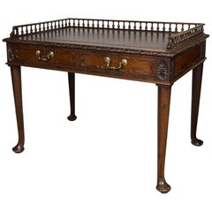Early 20th Century English Mahogany Leather Top Table