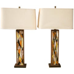 Pair of Tiled Mid-Century Modern Lamps from a Frank Lloyd Wright Estate