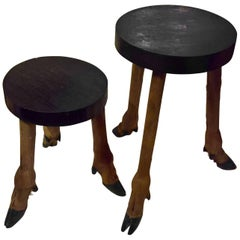Rustic Pair of Side Tables with Taxidermy Legs