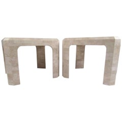 Pair of Tessellated Stone Lamp Tables in the Style of Maitland Smith