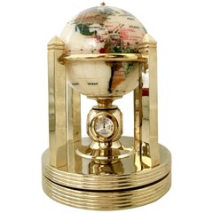 21st Century Mother-of-Pearl and Semi Precious Gold Plate Rotating, Globe