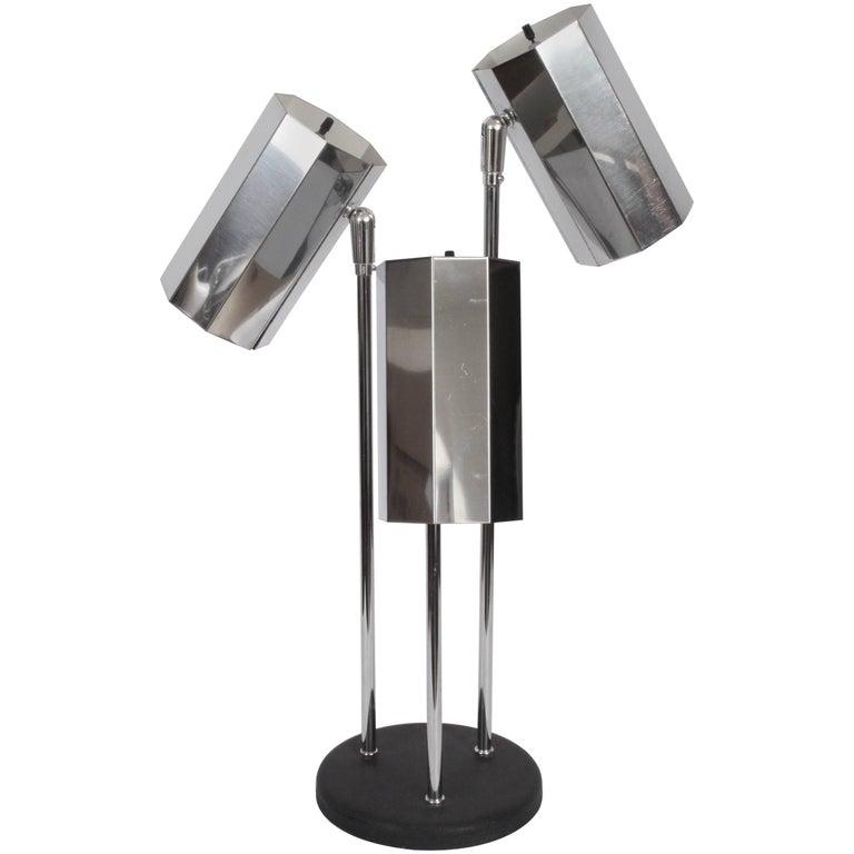 1960s Adjustable Desk Lamp with Three Octagon Chrome Shades & Black Enamel Base